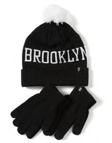 GLOVES 10-14 V Ribbineulos pipo ja 2 parin pakkaus Brooklyn Base sormikkaita.