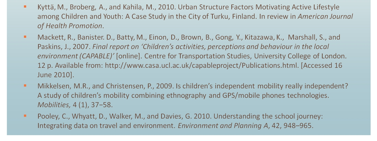 Mapping and characterising children s daily mobility in urban