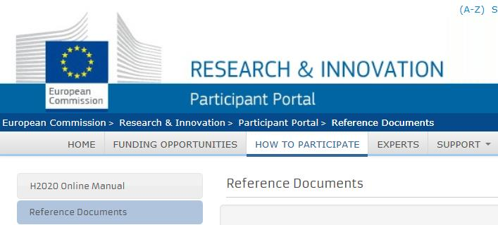 Participant Portal osallistujaportaali Reference Documents http://ec.europa.