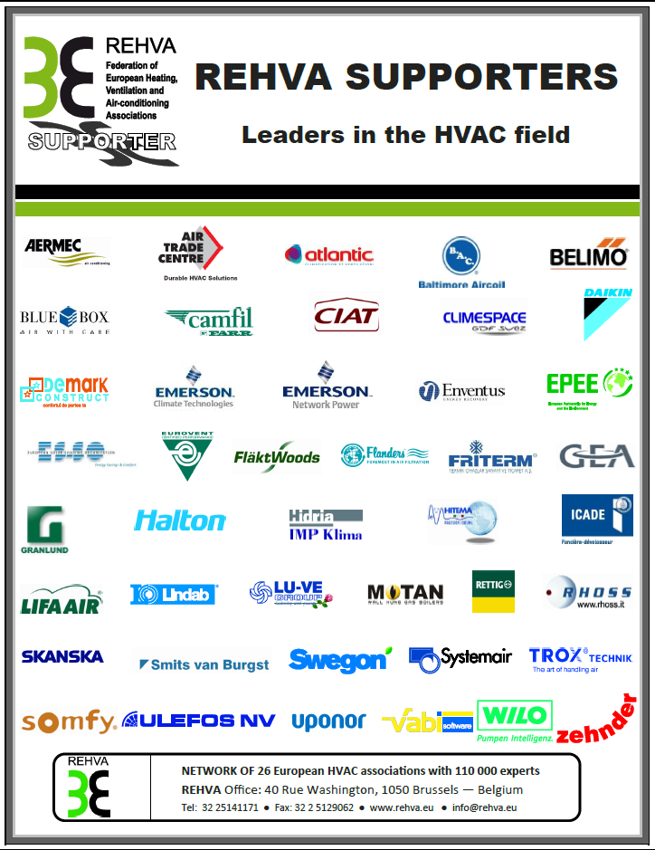 REHVA Supporters 50 European leaders in HVAC EU and EC information Logos on website Networking Free REHVA
