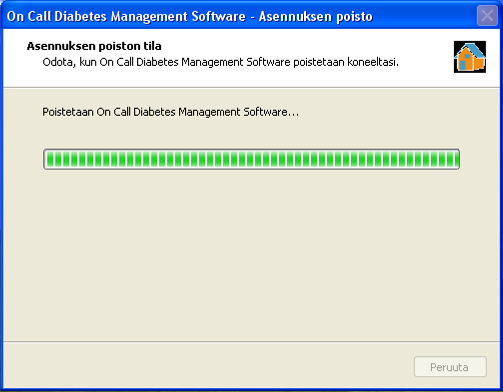 Valitse Kaikki ohjelmat/all Programs > On Call Diabetes Management Software > Uninstall Software.