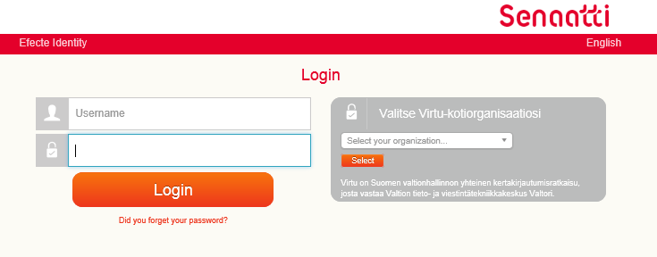 SELECT AUTHENTICATION METHOD Choose user name and password or Virtu authentication Use the same authentication method