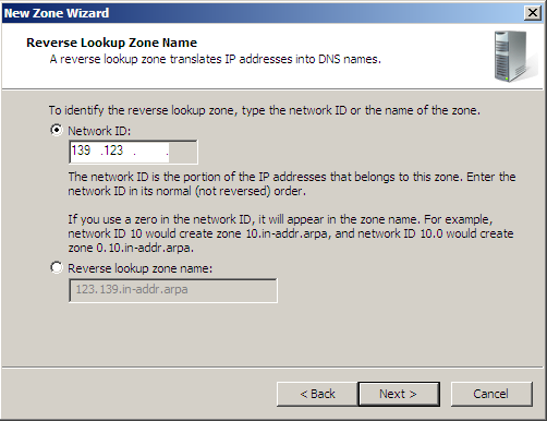 Windows 2008 AD DS asennus DNS Reverse Lookup asennus
