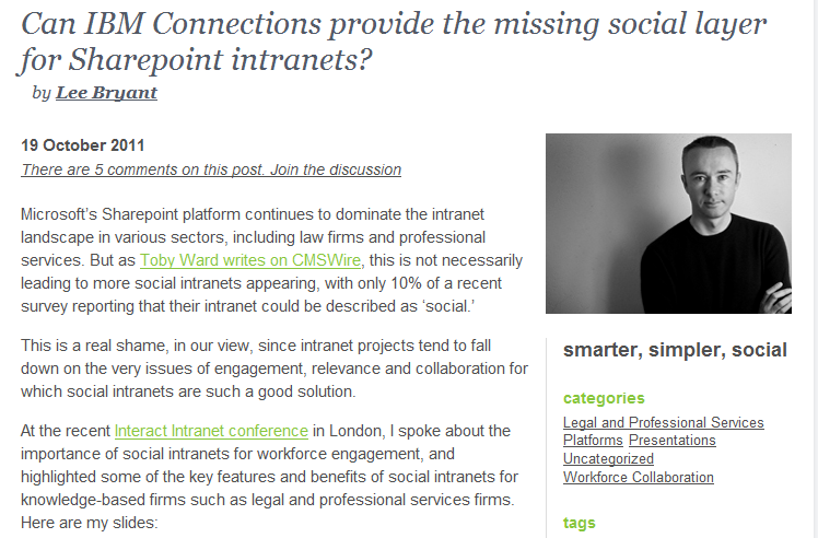 Can IBM Connections provide the missing social layer for Sharepoint intranets?