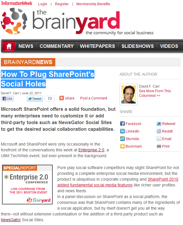 How To Plug SharePoint's Social Holes Loland said SharePoint offers some good features but that you should plan to customize if you want to use them effectively.
