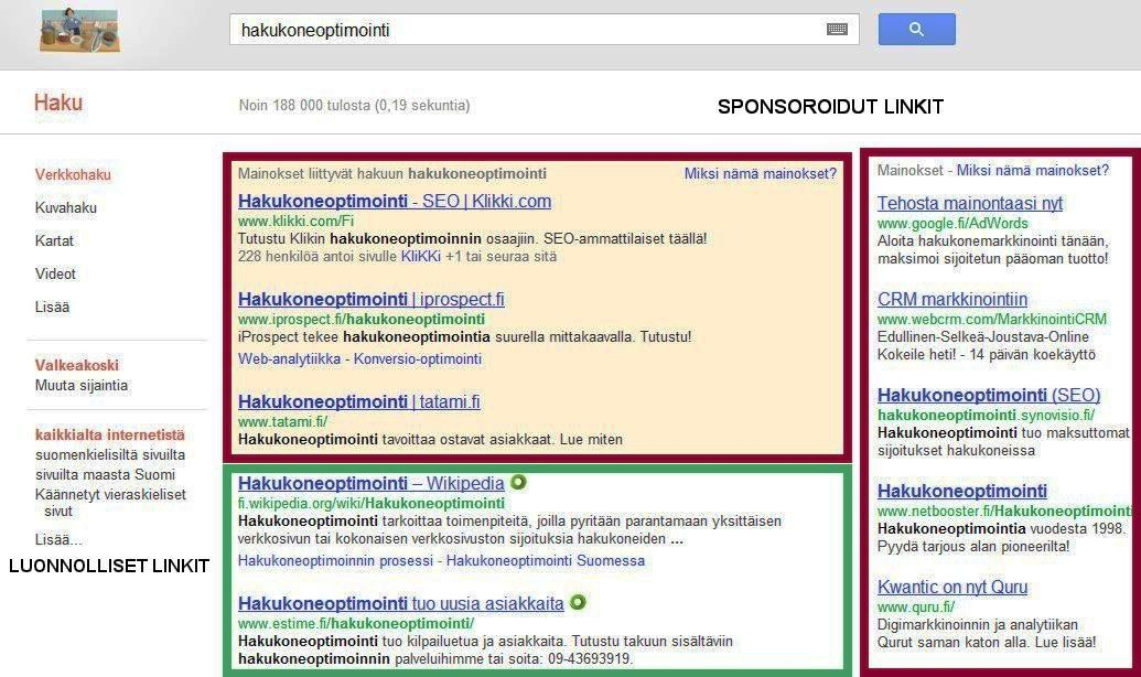 4.1 Hakukoneoptimointi vs. hakukonemarkkinointi Hakukonemarkkinointi (SEM) eli Search Engine Marketing ja hakukoneoptimointi (SEO) Search Engine Optimization ovat kaksi eri asiaa.