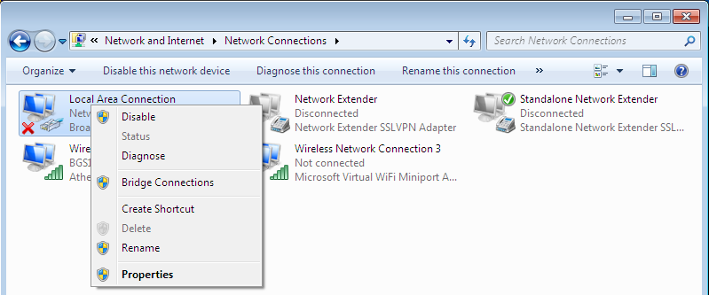 3.1 Network Configuration 3.1.1 Configuring PC in Windows 7 1. Go to Start. Click on Control Panel. 2. Then click on Network and Internet. 3. When the Network and Sharing Center window pops up, select and click on Change adapter settings on the left window panel.