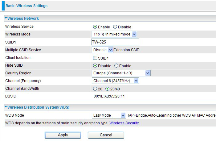 4.3.1 Basic-Basic Wireless Settings Wireless Network Wireless Service: Default setting is Enable. If you do not have any wireless, select Disable.