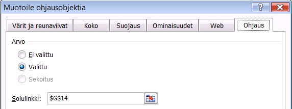 Valintanappi (Option Button) Valintanappi on ylärivin viimeinen painike Kehitystyökalut (Developer) -välilehden Lisää (Insert) -pudotusvalikossa.