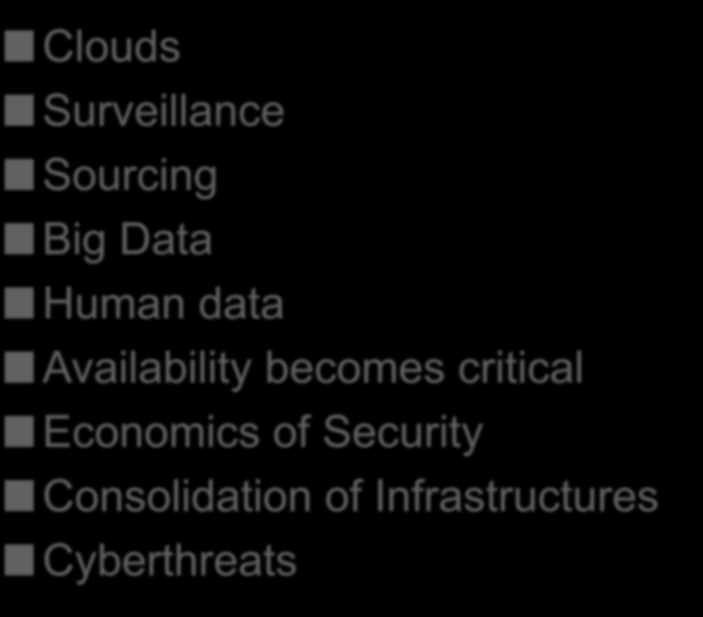 The Changing InfoSec Scene Clouds Surveillance Sourcing Big Data Human data