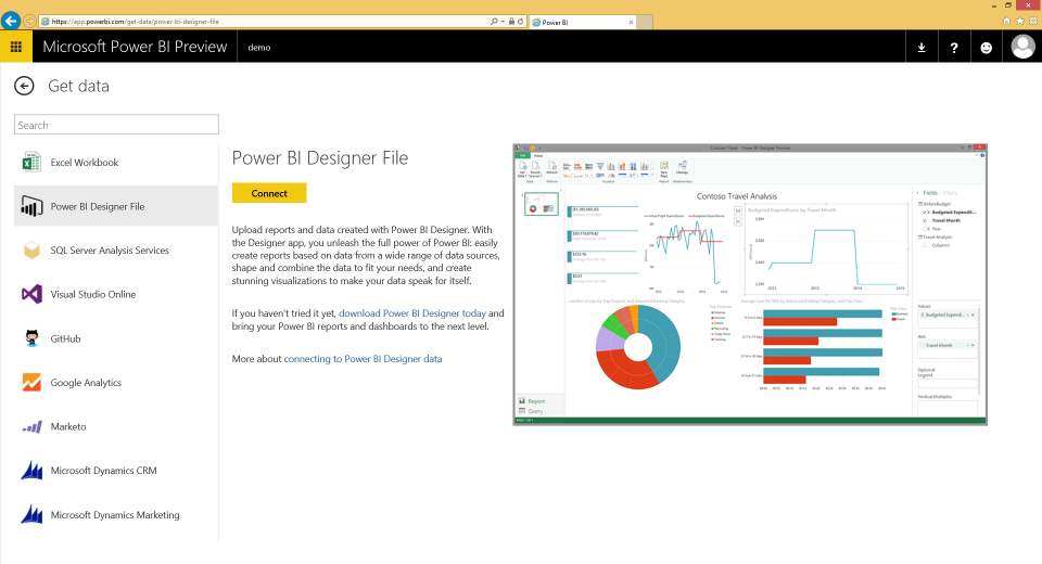 Power BI Site Dashboardin luominen: Hae data haluamastasi lähteestä, esim. Excel / Power Pivot Excel tiedosto Power BI Designer tiedosto Analysis Services Tabular Jne.