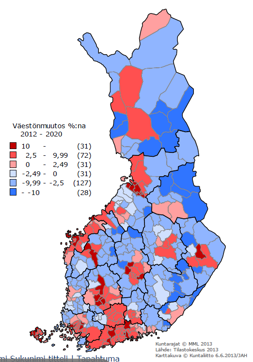 Demographic Transition (%) in Finland 2012-2020 The more red the