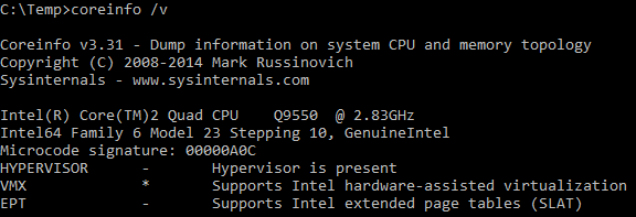 If SLAT is missing, Hyper-V cannot be enabled. The available features of the CPU can be checked beforehand using the coreinfo utility as follows. 1.