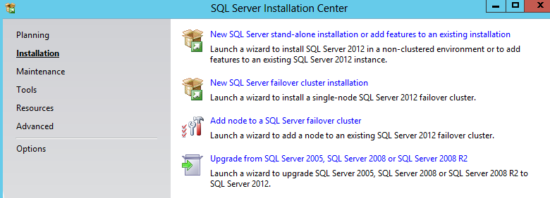 23. SQL Server Installation Center aukeaa. Valitse Installation. The SQL Server Installation Center opens. Select Installation. 24.