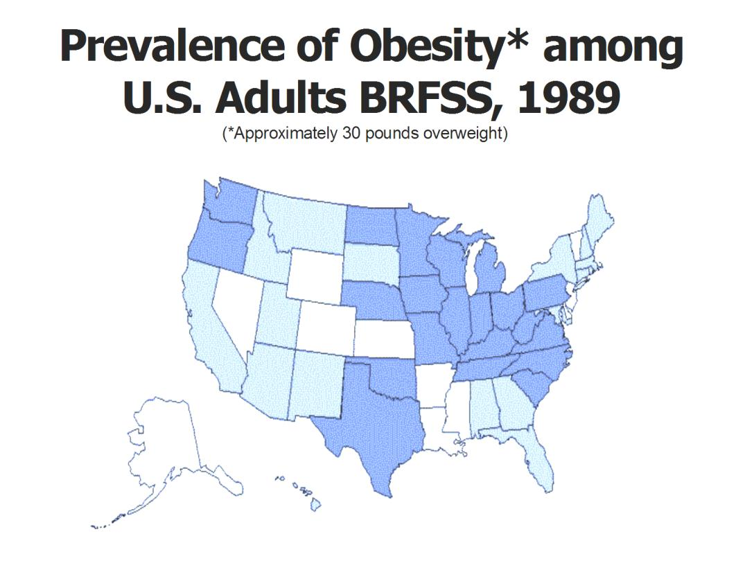 Prevalence of Obesity * among US Adults from 1989 1999 (*