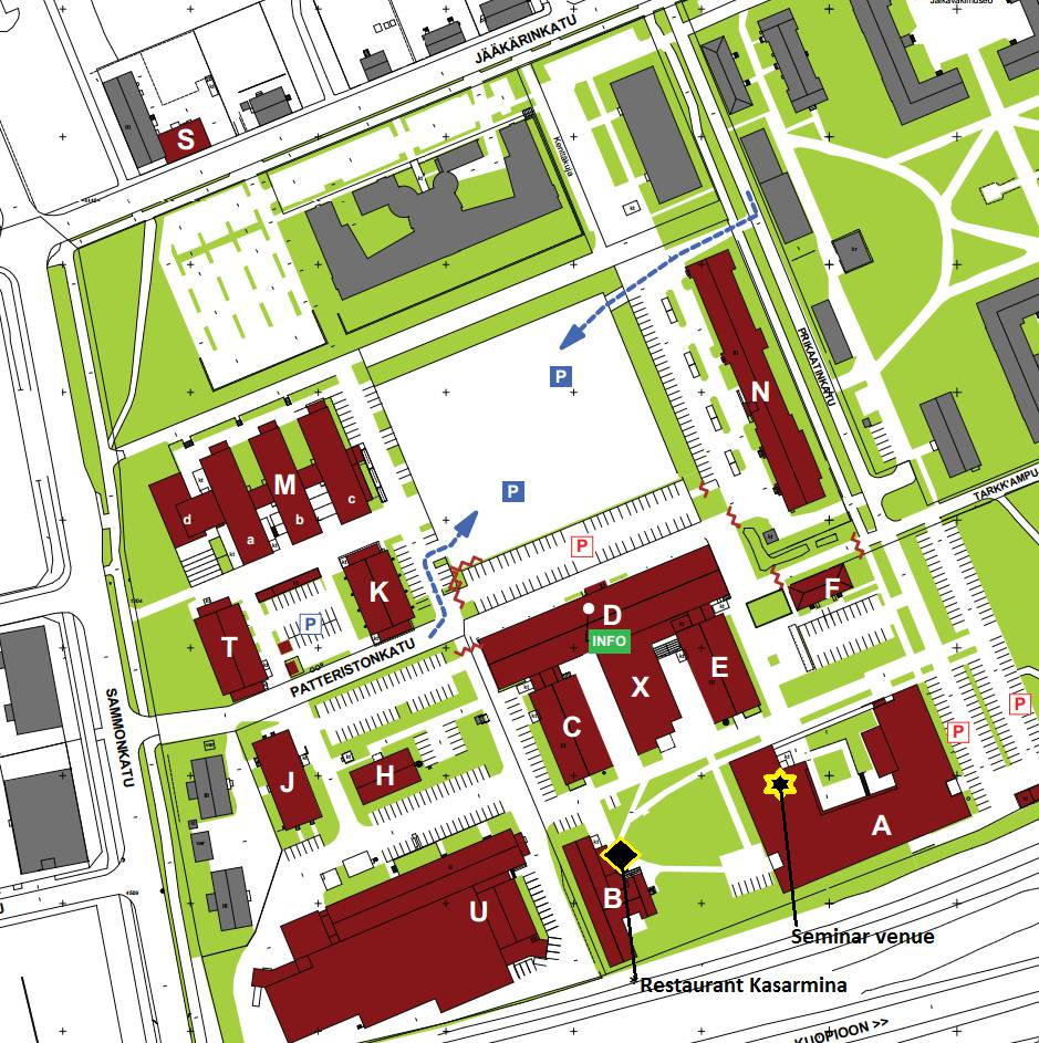 Campus area map with points of