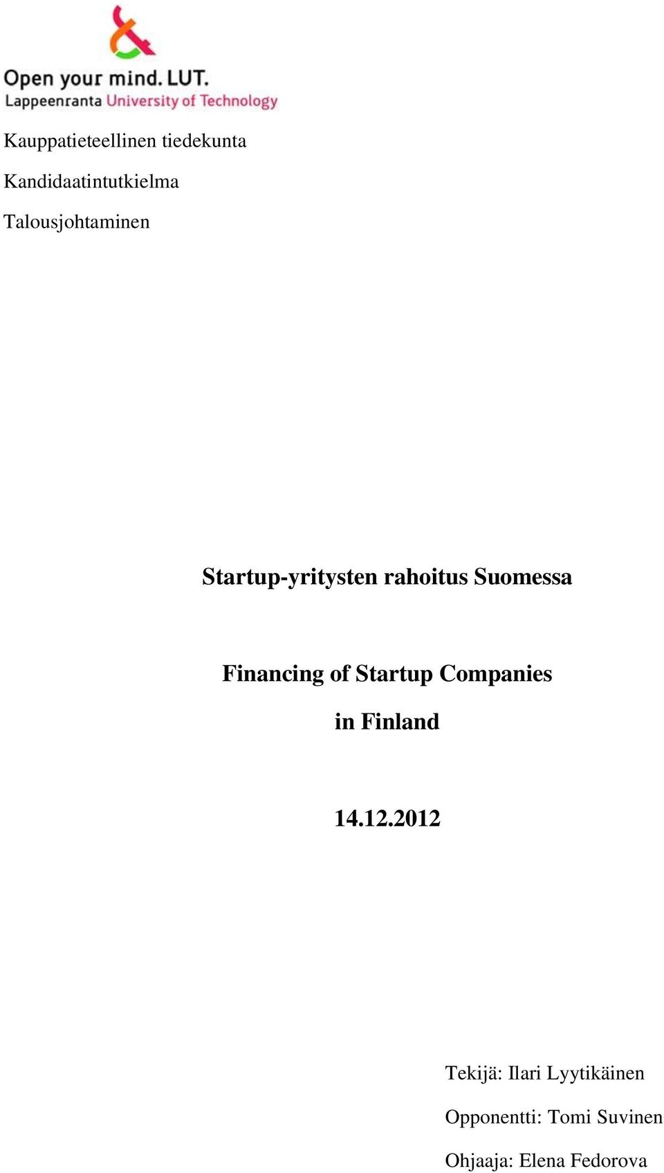 Financing of Startup Companies in Finland 14.12.