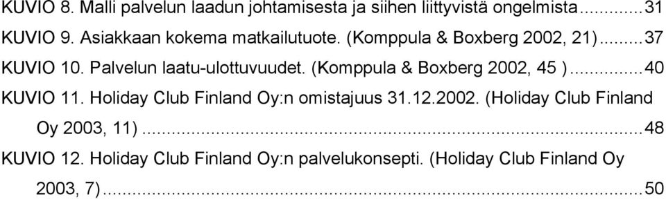 (Komppula & Boxberg 2002, 45 )...40 KUVIO 11. Holiday Club Finland Oy:n omistajuus 31.12.2002. (Holiday Club Finland Oy 2003, 11).