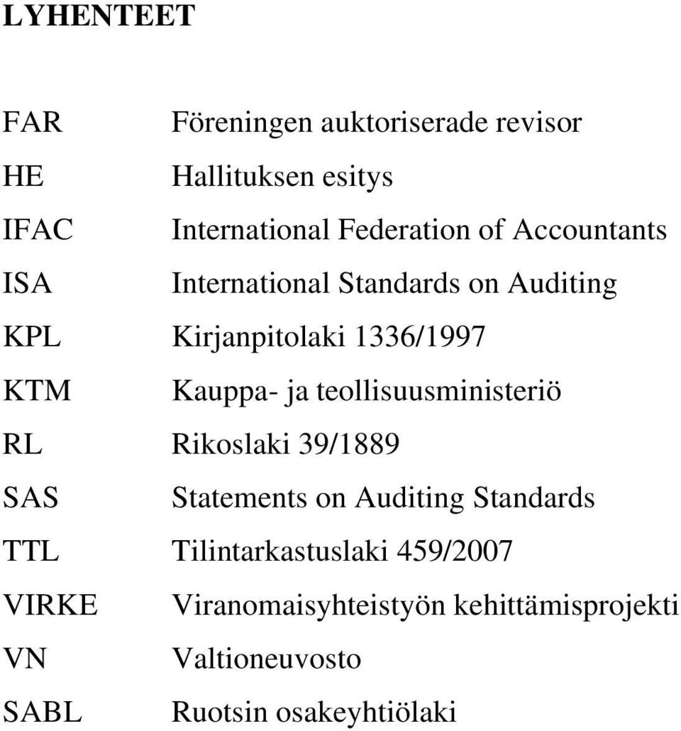 teollisuusministeriö RL Rikoslaki 39/1889 SAS Statements on Auditing Standards TTL