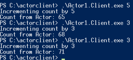 Actor Client public static void Main(string[] args) { var proxy = ActorProxy.