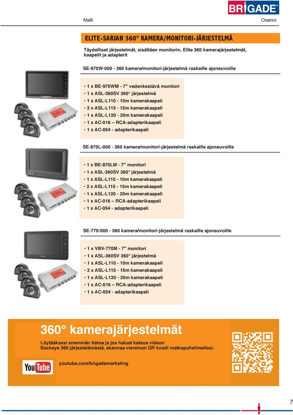 "rigid vehicles 4341 1xBE-970WM - 7"" waterproof monitor 1 x BE-970WM - 7"" vedenkestävä monitori 1 x ASL-360SV 360 system 1 x ASL-360SV 360 järjestelmä 11 x x ASL-L110-10m - 10m camera kamerakaapeli"