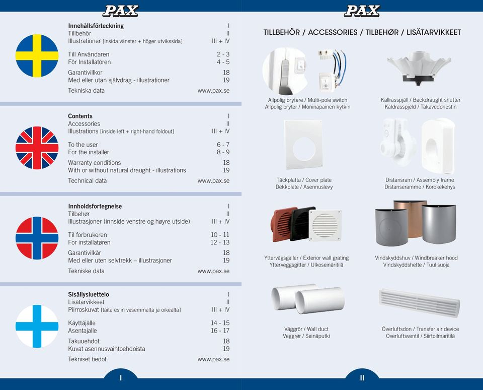 se I II III + IV To the user 6-7 For the installer 8-9 Warranty conditions 18 With or without natural draught - illustrations 19 Technical data www.pax.