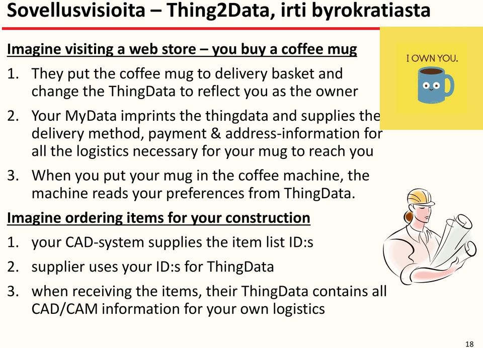 Your MyData imprints the thingdata and supplies the delivery method, payment & address-information for all the logistics necessary for your mug to reach you 3.