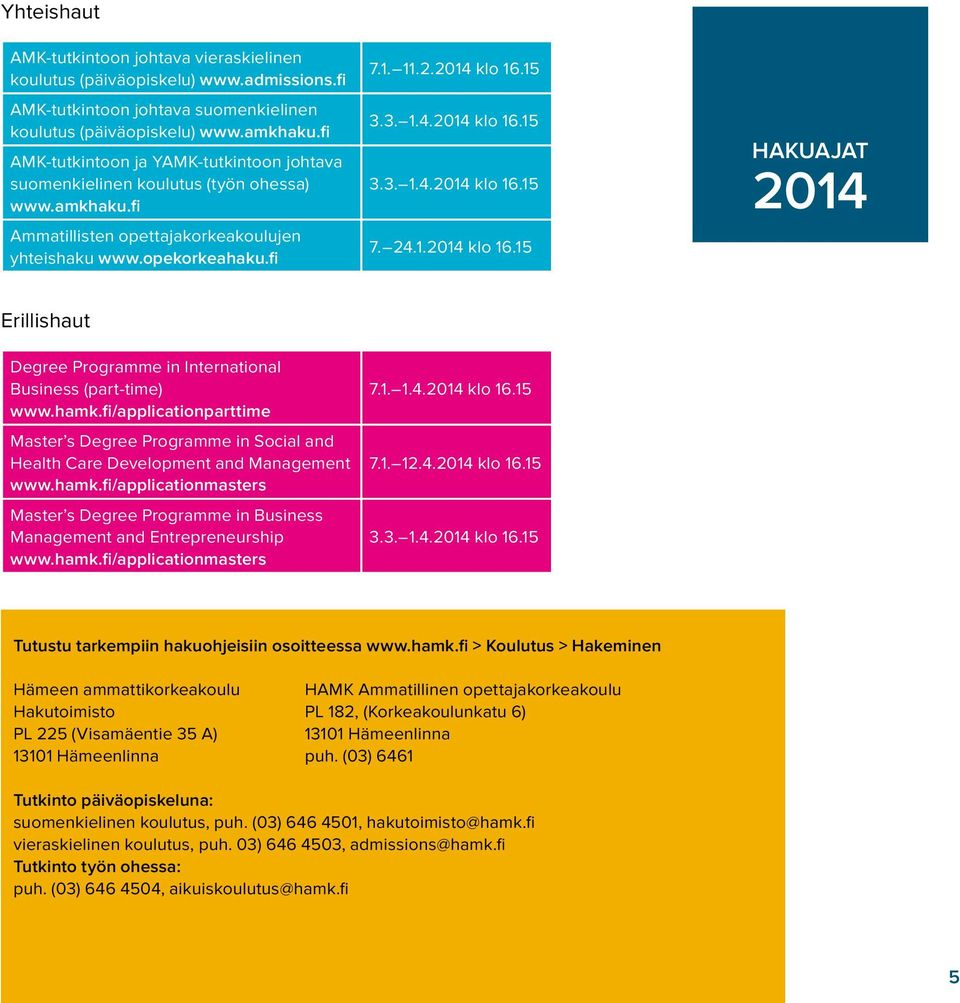 24.1.2014 klo 16.15 HAKUAJAT 2014 Erillishaut Degree Programme in International Business (part-time) www.hamk.