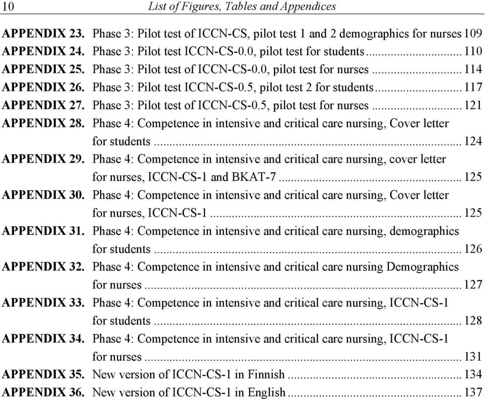Phase 3: Pilot test of ICCN-CS-0.5, pilot test for nurses... 121 APPENDIX 28. Phase : Competence in intensive and critical care nursing, Cover letter for students... 12 APPENDIX 29.