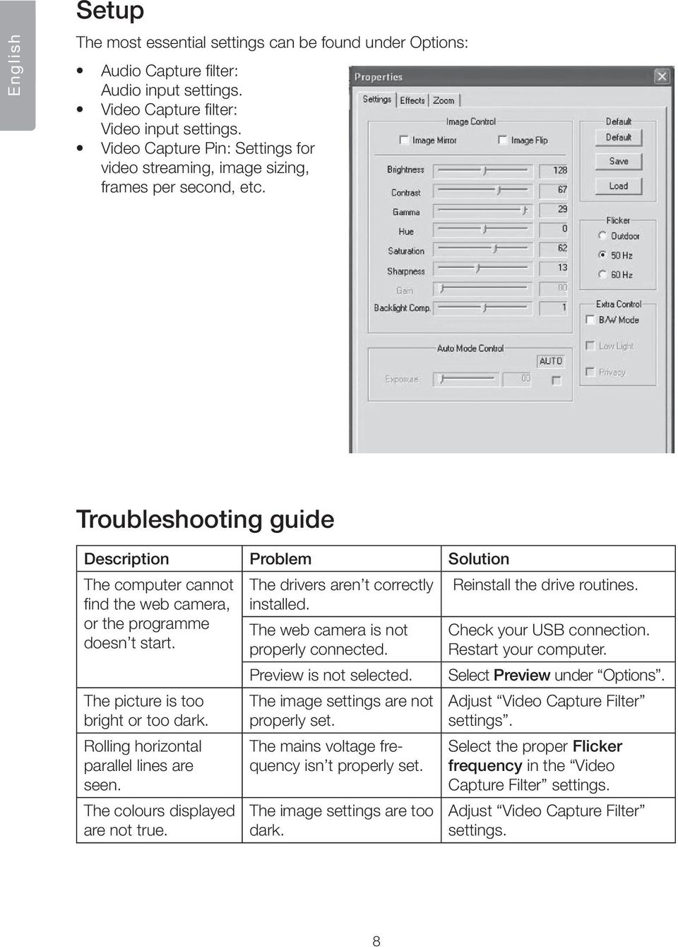 Troubleshooting guide Description Problem Solution The computer cannot The drivers aren t correctly Reinstall the drive routines. find the web camera, installed.