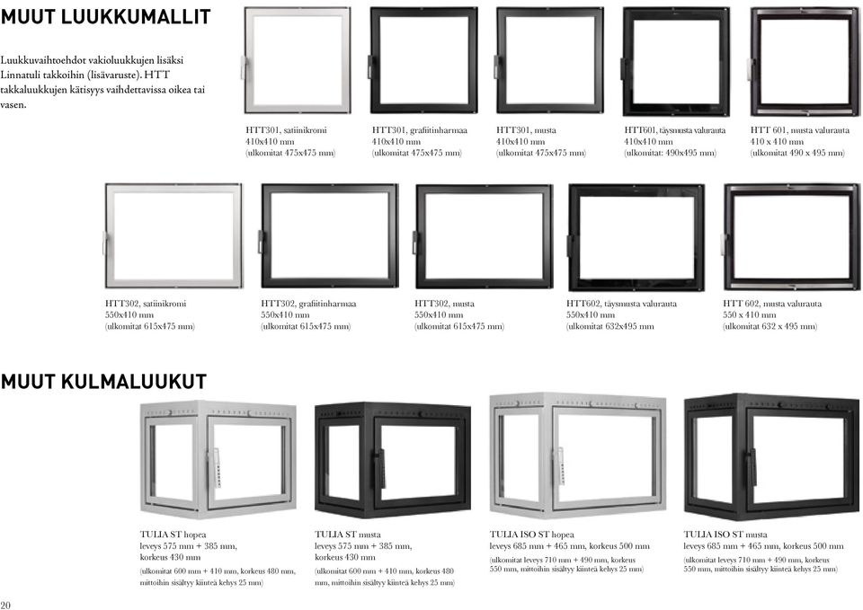 (ulkomitat: 490x495 mm) HTT 601, musta valurauta 410 x 410 mm (ulkomitat 490 x 495 mm) HTT302, satiinikromi 550x410 mm (ulkomitat 615x475 mm) HTT302, grafiitinharmaa 550x410 mm (ulkomitat 615x475 mm)