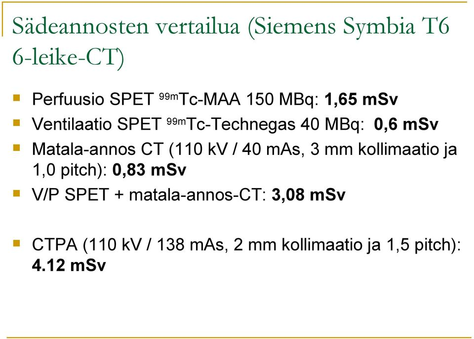 CT (110 kv / 40 mas, 3 mm kollimaatio ja 1,0 pitch): 0,83 msv V/P SPET +