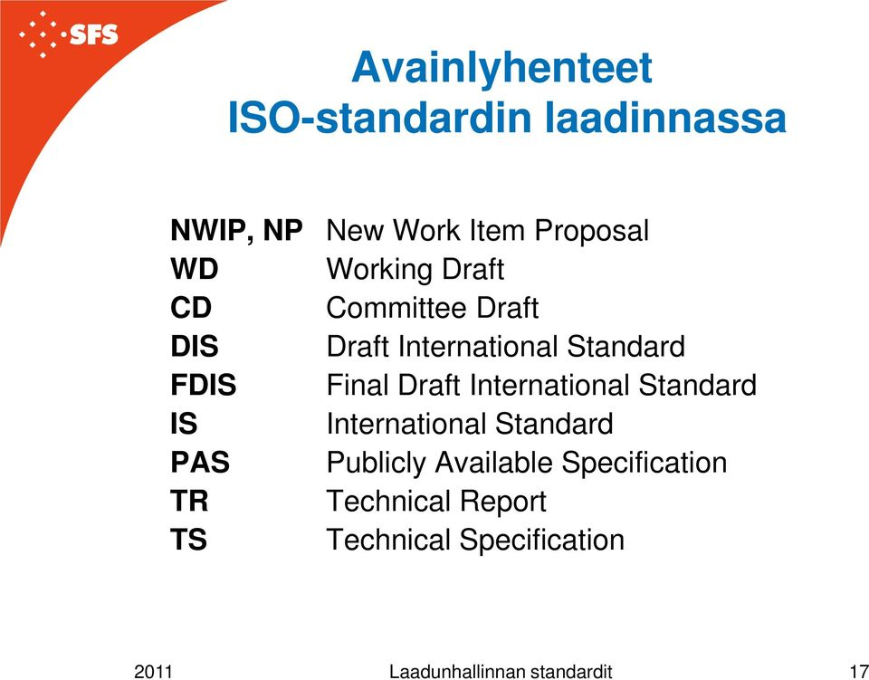 Standard Final Draft International Standard International Standard Publicly