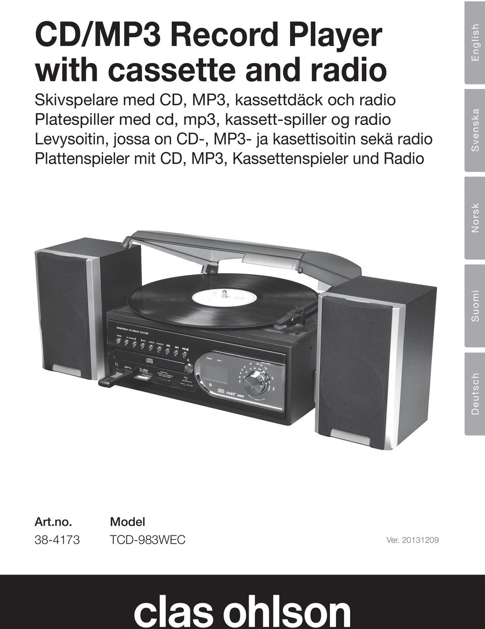 CD-, MP3- ja kasettisoitin sekä radio Plattenspieler mit CD, MP3, Kassettenspieler