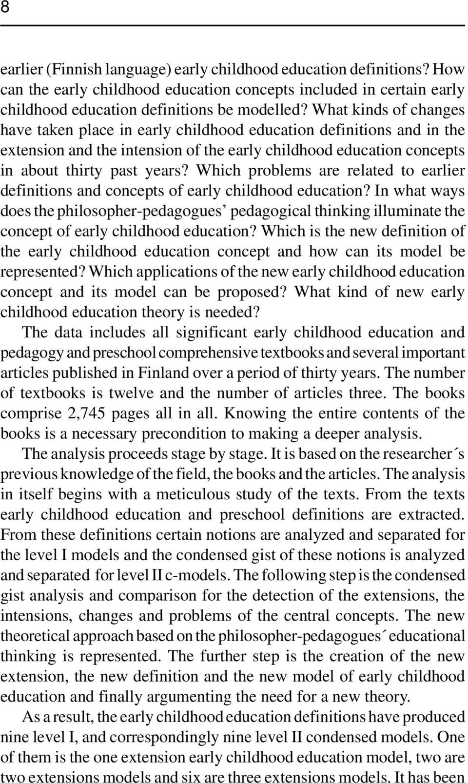 Which problems are related to earlier definitions and concepts of early childhood education?