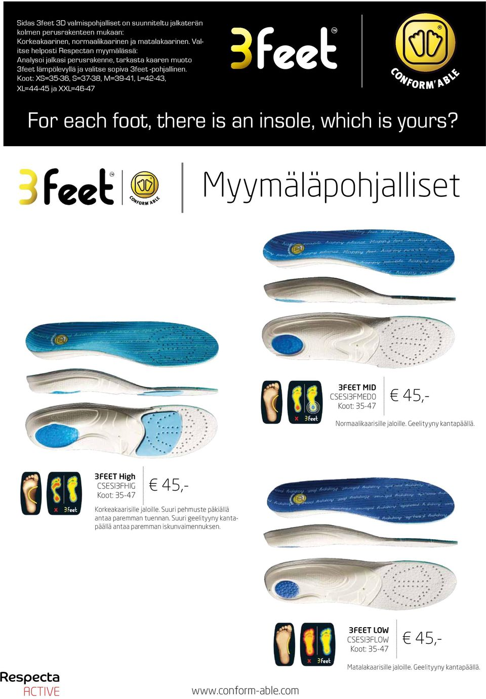 Koot: XS=35-36, S=37-38, M=39-41, L=42-43, XL=44-45 ja XXL=46-47 For each foot, there is an insole, which is yours? arch feet arch feet arch feet Myymäläpohjalliset www.conform-able.