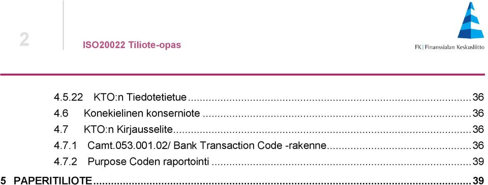 .. 36 4.7.1 Camt.053.001.02/ Bank Transaction Code -rakenne.