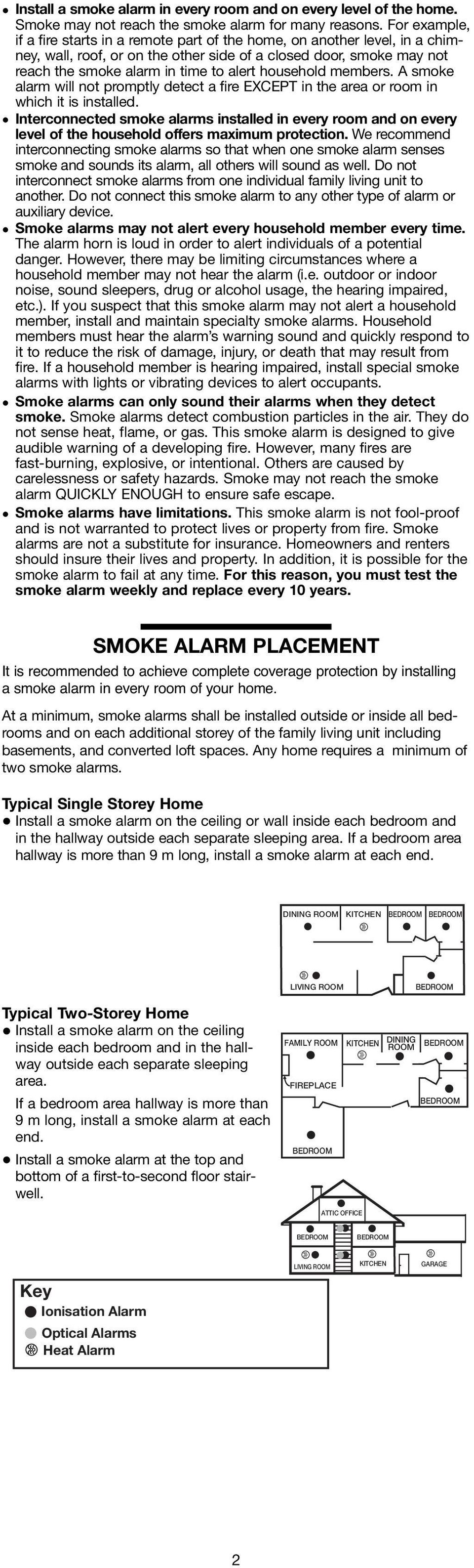 household members. A smoke alarm will not promptly detect a fire EXCEPT in the area or room in which it is installed.