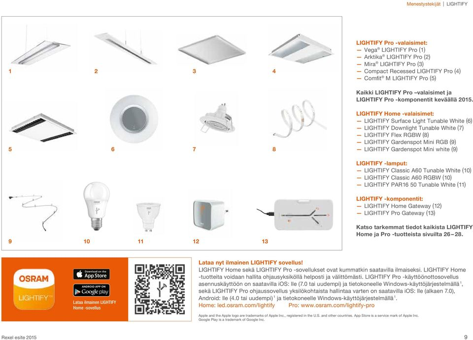 5 6 7 8 LIGHTIFY Home -valaisimet: LIGHTIFY Surface Light Tunable White (6) LIGHTIFY Downlight Tunable White (7) LIGHTIFY Flex RGBW (8) LIGHTIFY Gardenspot Mini RGB (9) LIGHTIFY Gardenspot Mini white