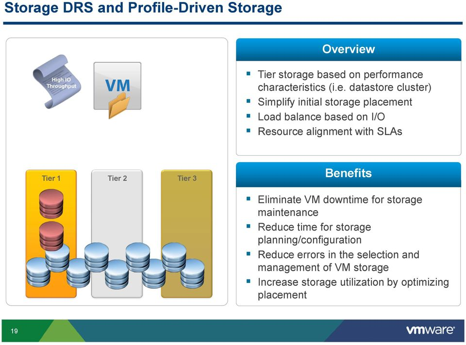 Tier 1 Tier 2 Tier 3 Benefits Eliminate VM downtime for storage maintenance Reduce time for storage
