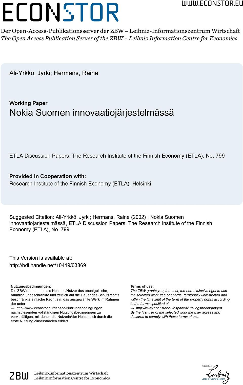 eu Der Open-Access-Publikationsserver der ZBW Leibniz-Informationszentrum Wirtschaft The Open Access Publication Server of the ZBW Leibniz Information Centre for Economics Ali-Yrkkö, Jyrki; Hermans,