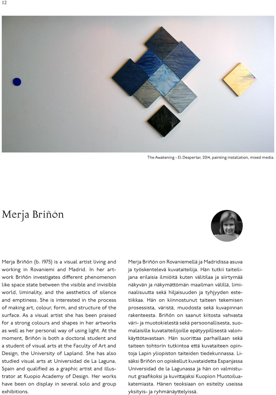 She is interested in the process of making art, colour, form, and structure of the surface.