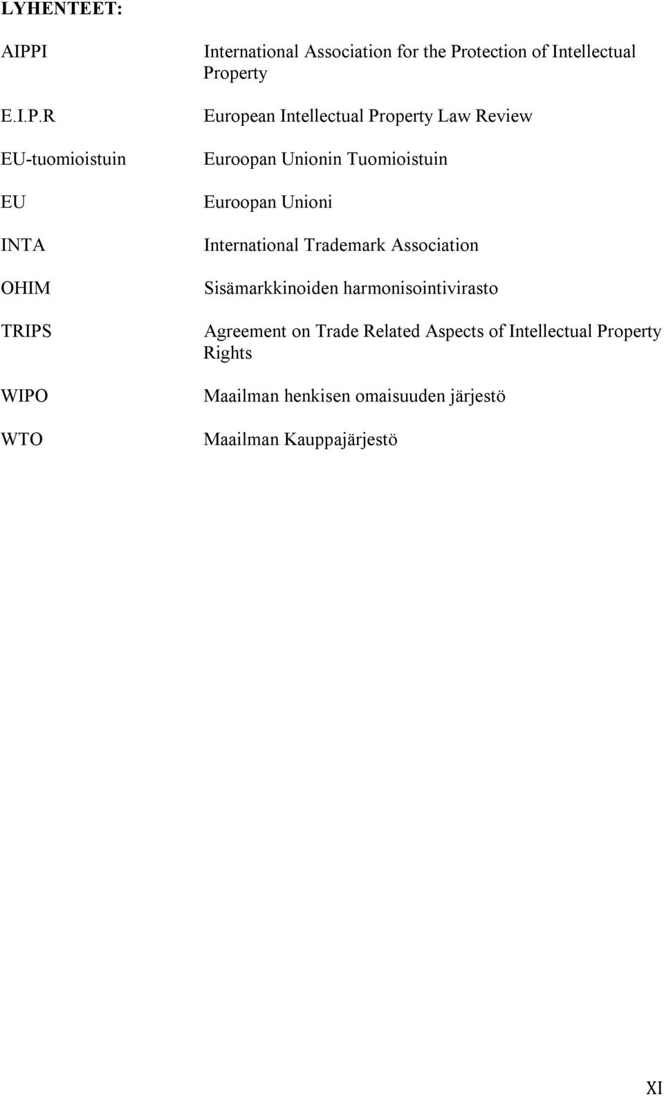 R EU-tuomioistuin EU INTA OHIM TRIPS WIPO WTO International Association for the Protection of Intellectual