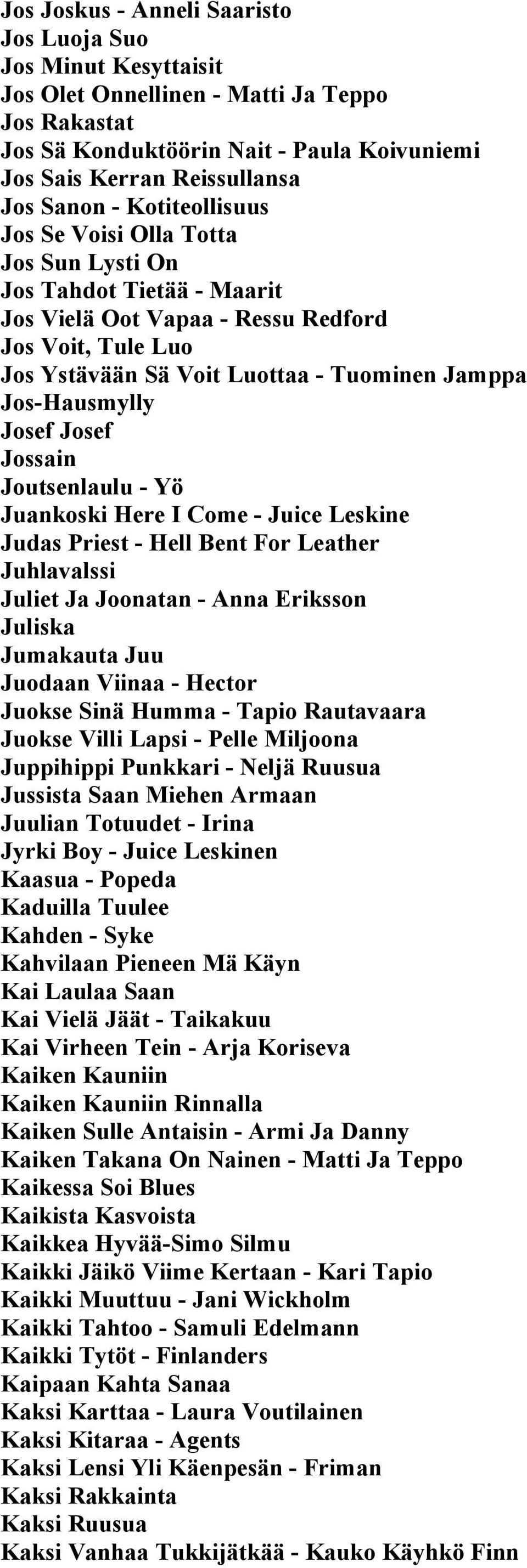 Josef Josef Jossain Joutsenlaulu - Yö Juankoski Here I Come - Juice Leskine Judas Priest - Hell Bent For Leather Juhlavalssi Juliet Ja Joonatan - Anna Eriksson Juliska Jumakauta Juu Juodaan Viinaa -