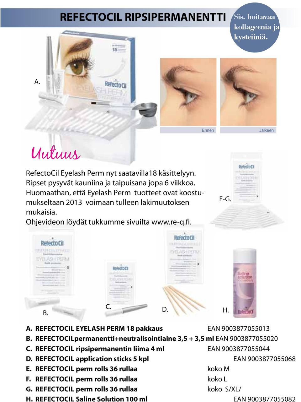 REFECTOCIL EYELASH PERM 18 pakkaus EAN 9003877055013 B. REFECTOCILpermanentti+neutralisointiaine 3,5 + 3,5 ml EAN 9003877055020 C. REFECTOCIL ripsipermanentin liima 4 ml EAN 9003877055044 D.