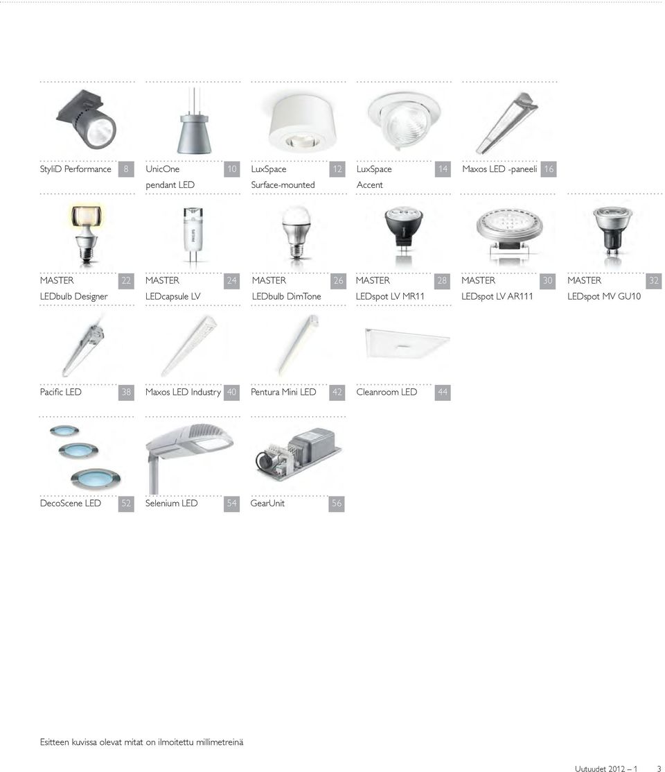LV MR11 LEDspot LV AR111 LEDspot MV GU10 Pacifi c LED 38 Maxos LED Industry 40 Pentura Mini LED 42 Cleanroom LED 44