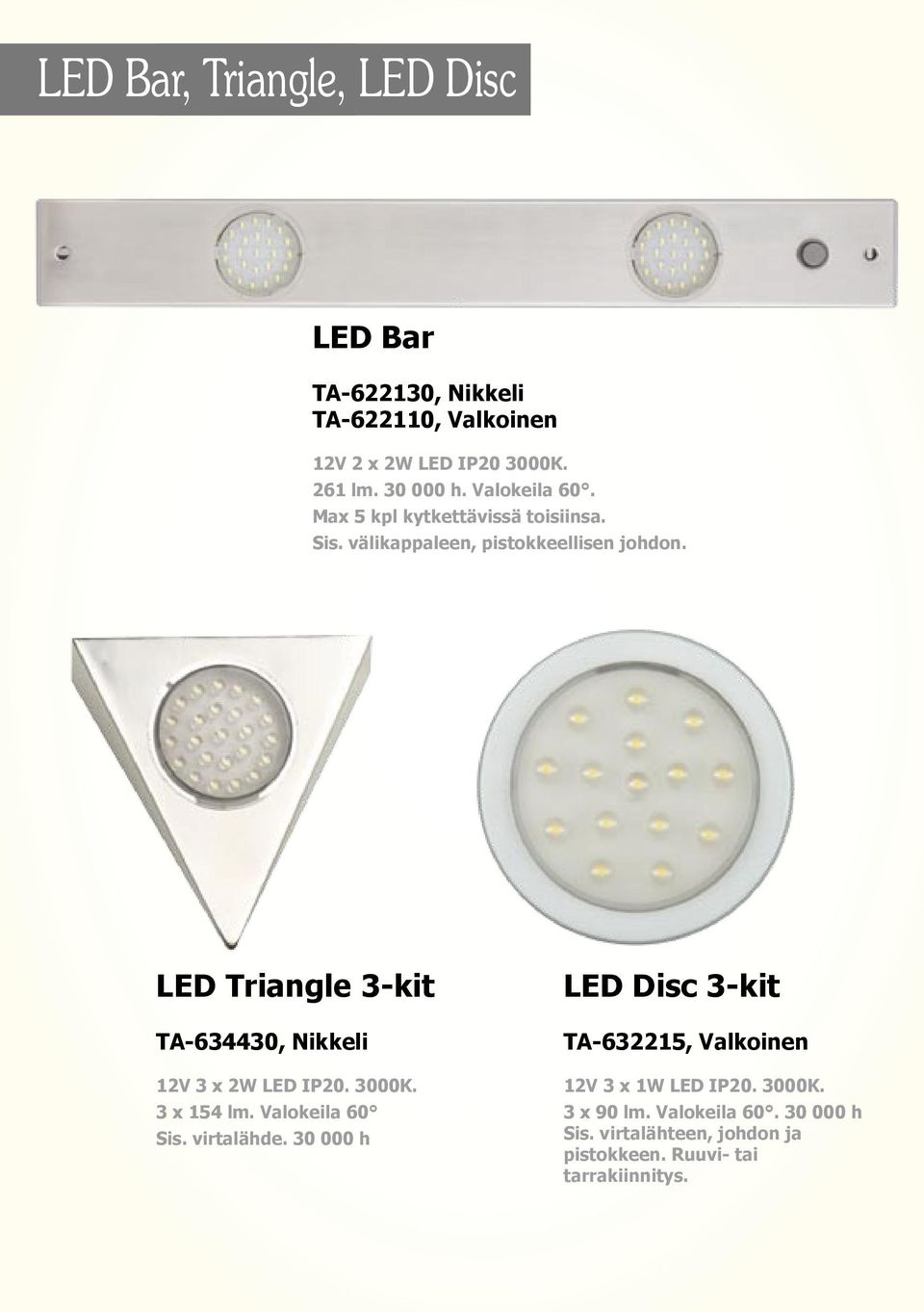 LED Triangle 3-kit TA-634430, Nikkeli 12V 3 x 2W LED IP20. 3000K. 3 x 154 lm. Valokeila 60 Sis. virtalähde.