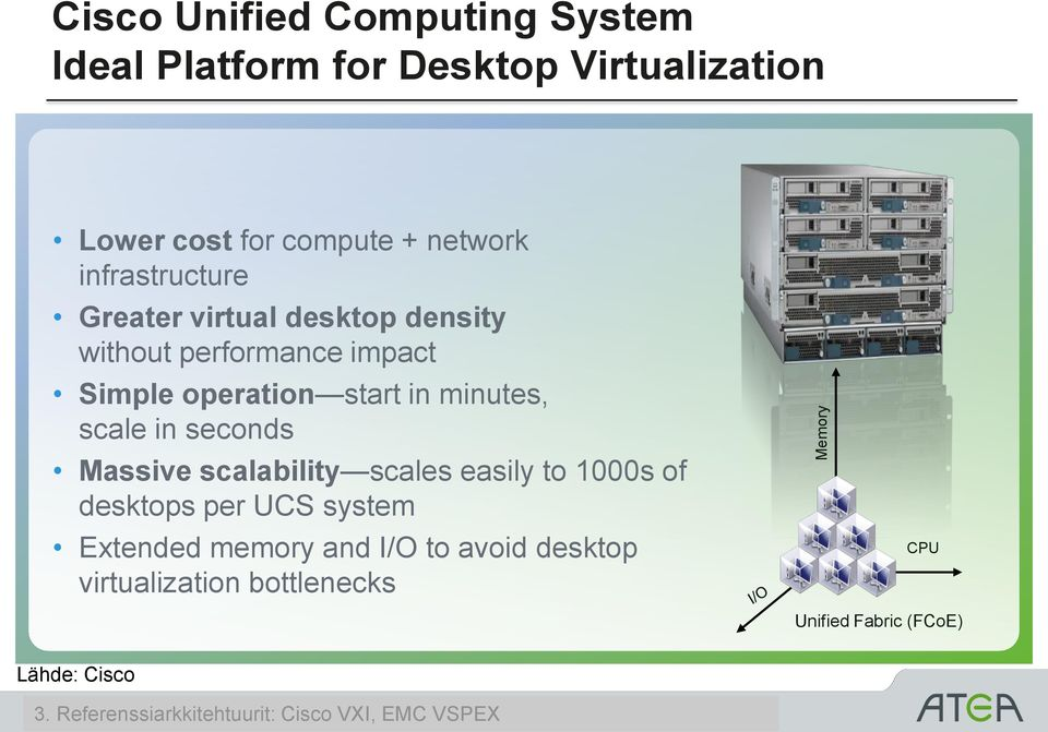 in seconds Massive scalability scales easily to 1000s of desktops per UCS system Extended memory and I/O to avoid