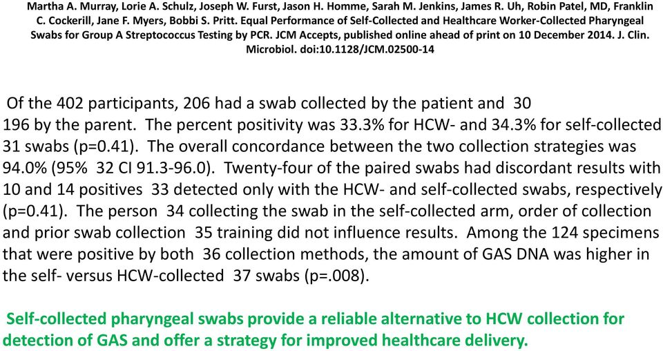 Microbiol. doi:10.1128/jcm.02500-14 Of the 402 participants, 206 had a swab collected by the patient and 30 196 by the parent. The percent positivity was 33.3% for HCW- and 34.