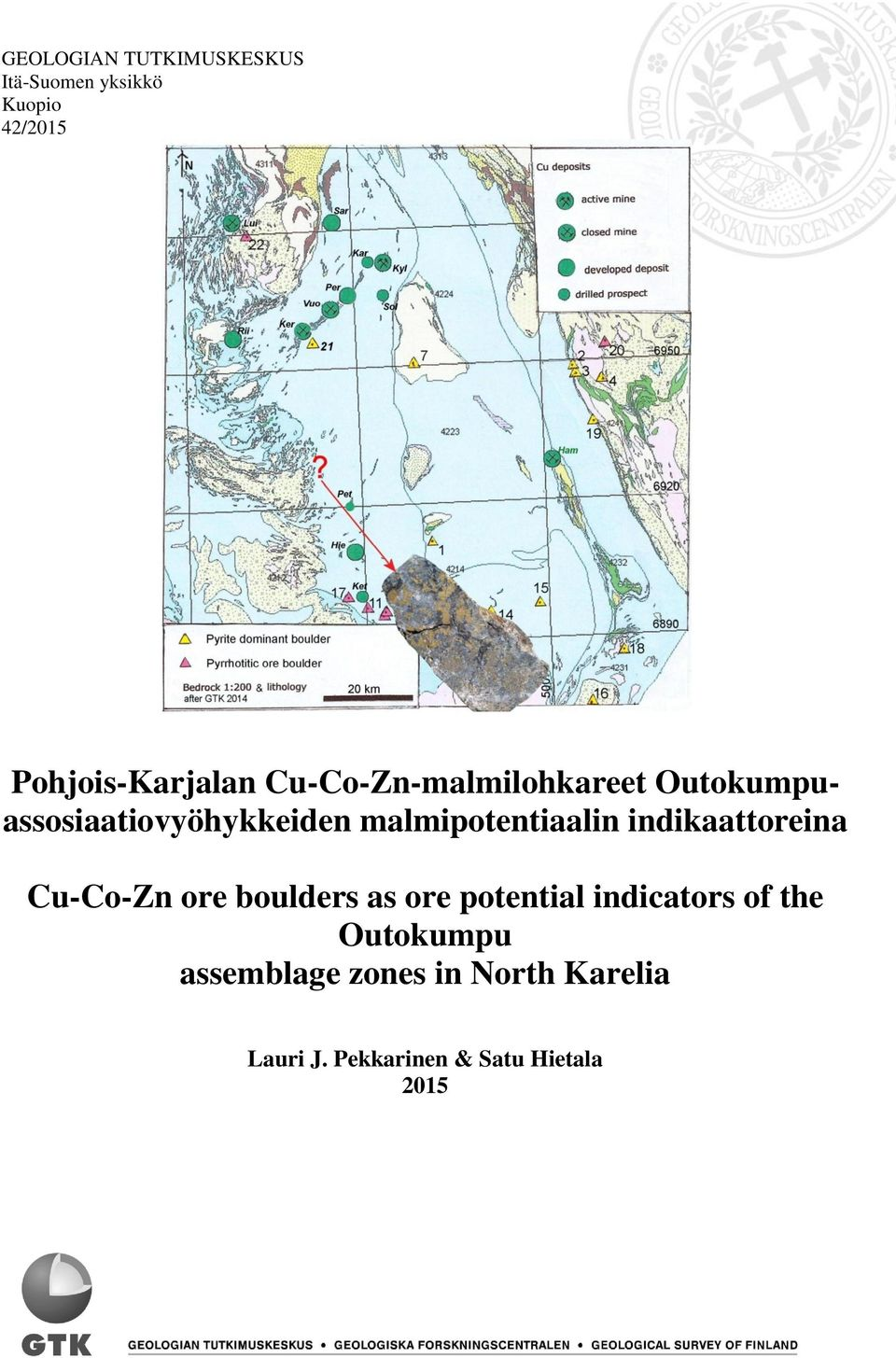 indikaattoreina Cu-Co-Zn ore boulders as ore potential indicators of the